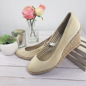 Merona Beige Canvas Espadrilles Wedges